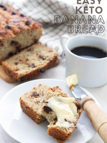 Titled image of a slice of keto banana bread on a white plate, smeared with butter.