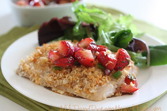 Paleo Macadamia Crusted Fish with Strawberry Lime Salsa