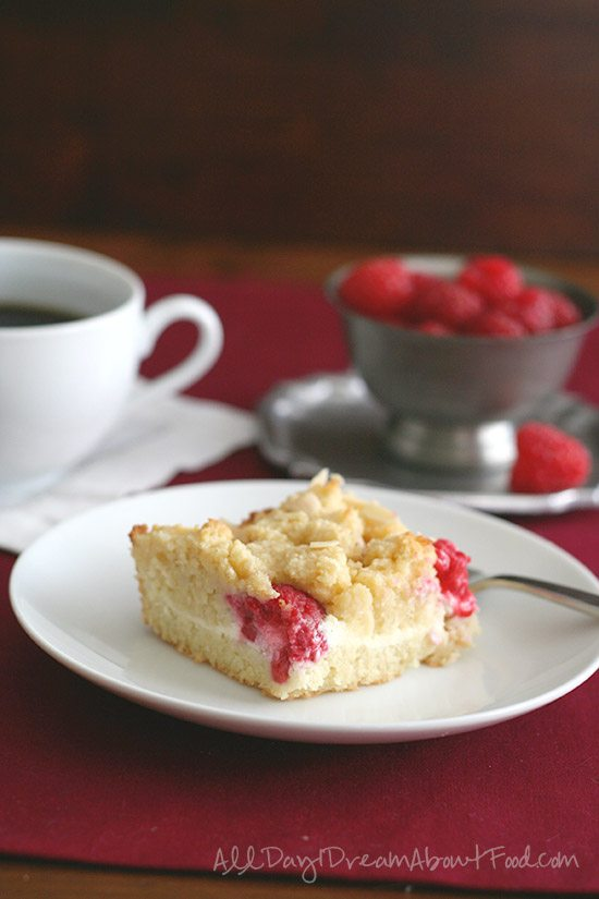 Low Carb Raspberry Almond Cream Cheese Coffee Cake