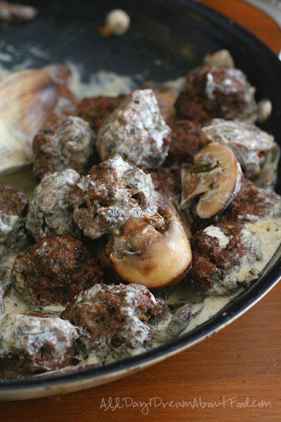 Beef and Mushroom Meatballs in Stroganoff Sauce