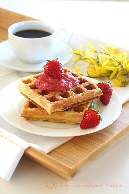 Low Carb Waffles with Sugar-Free Strawberry Rhubarb Sauce