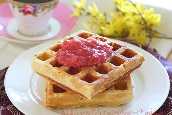 Low Carb Waffles with Strawberry Rhubarb Sauce