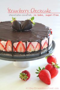 Low Carb No Bake Chocolate Strawberry Cheesecake