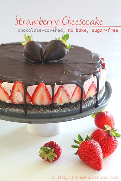 titled photo (and shown): Chocolate Covered Strawberry No Bake Sugar-Free Cheesecake