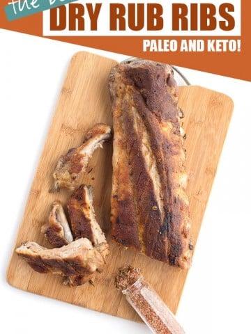 Dry rub ribs on a wooden cutting board