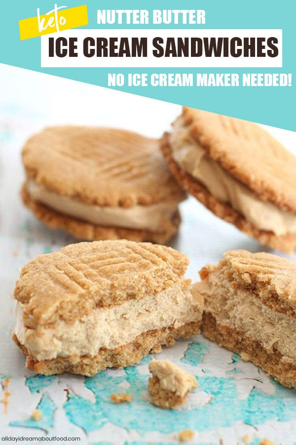 Close up shot of keto peanut butter Ice cream sandwiches