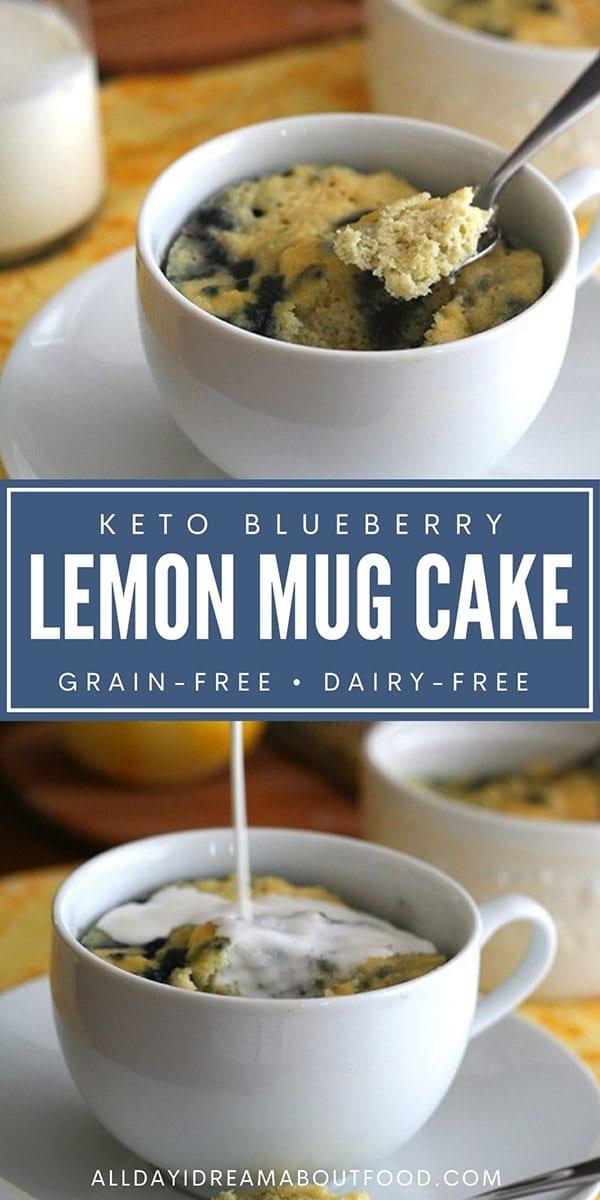 Pinterest collage for keto lemon mug cake