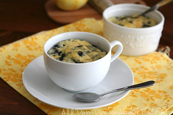 Low Carb Lemon Blueberry Mug Cake Dairy Free