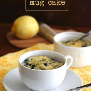 Low Carb Nut Free Lemon Blueberry Mug Cake