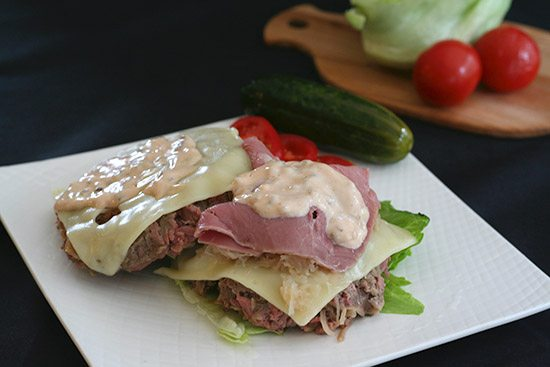 Low Carb Burgers with Reuben Toppings