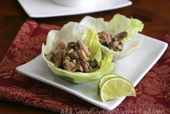Paleo Thai Basil Chicken Lettuce Wraps