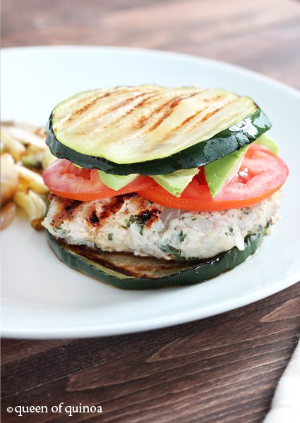Herbed Turkey Burgers with Zucchini Buns from Queen of Quinoa
