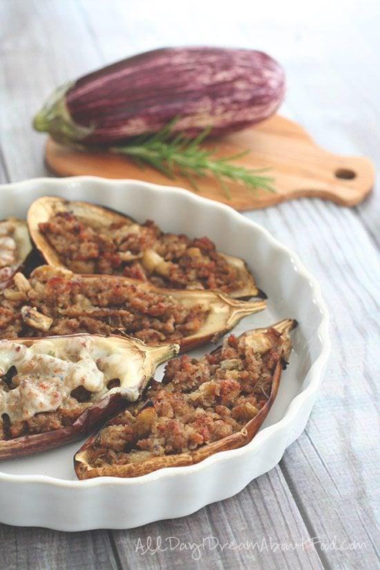 Paleo Low Carb Sausage Stuffed Eggplant
