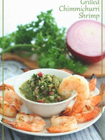 Low Carb Paleo Grilled Shrimp with Chimichurri