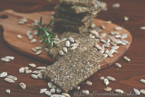 Low Carb Chia Seed Crackers with Rosemary and Parmesan