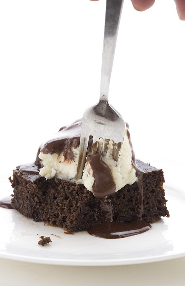fork piercing into a slice of keto chocolate cake, served ala mode
