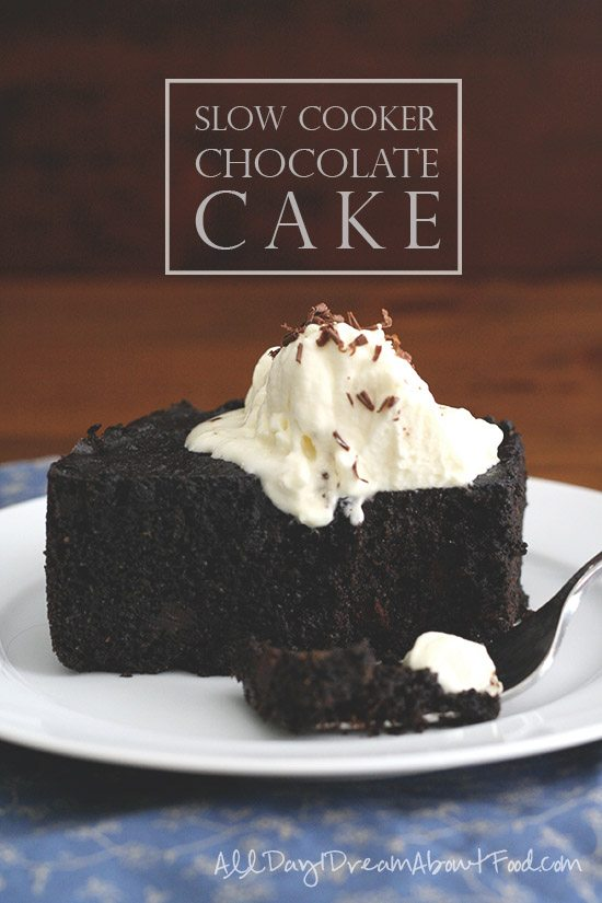 Titled image: Slow Cooker Chocolate Cake - shown: a slice of sugar-free low carb chocolate cake topped with ice cream