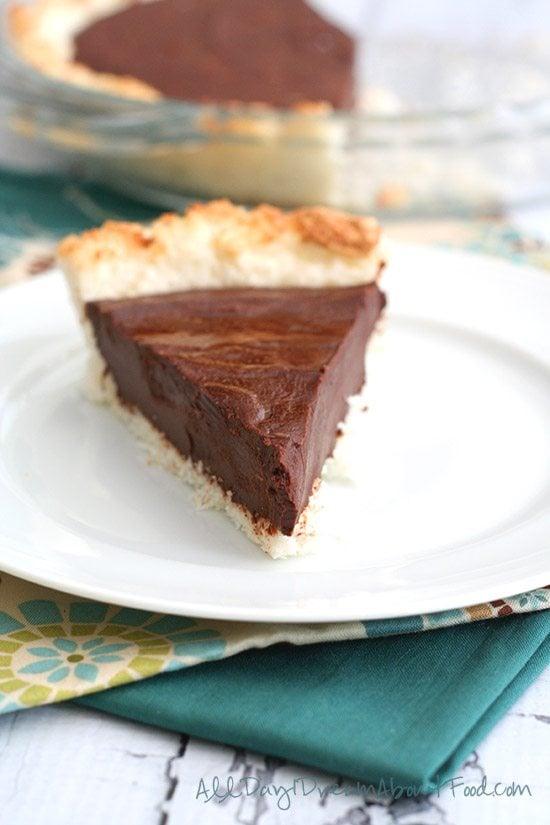 Low Carb Chocolate Ganache Tart with Macaroon Crust