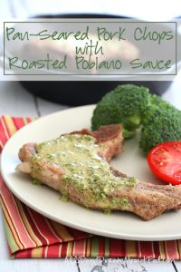 Low Carb Pork Chops with Roasted Poblano Sauce