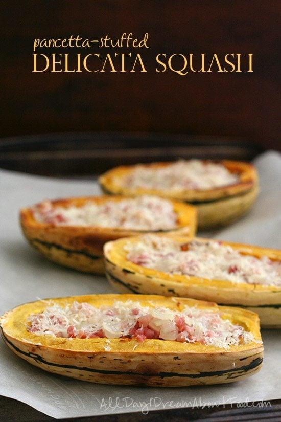 Low Carb Pancetta Stuffed Delicata Squash
