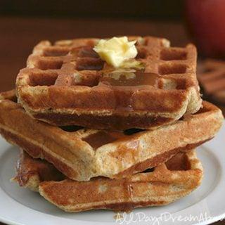 Low Carb Apple Cinnamon Waffles with Sugar-free Caramel Sauce