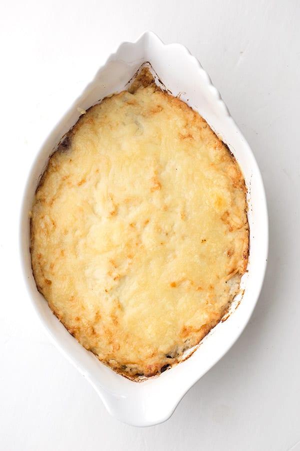 Top down photo of Cauliflower Shepherd's Pie