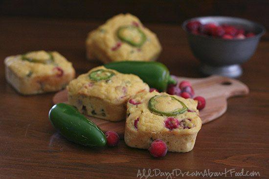Low Carb Cranberry Jalapeño Cornbread Muffins