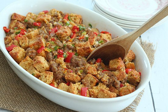 Low Carb Gluten-Free Stuffing Recipe with Sausage and Cheddar Beer Bread