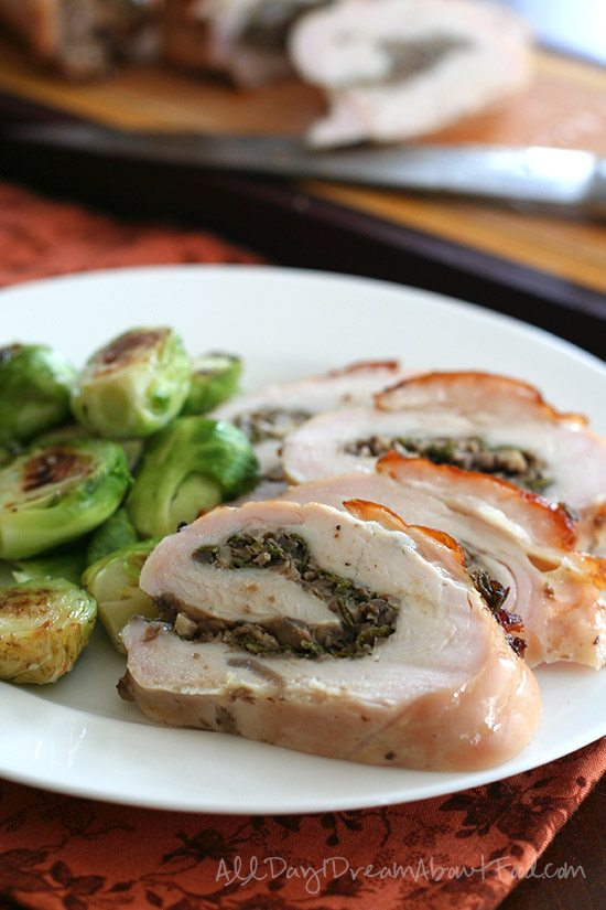 Paleo Mushroom Sage Stuffed Turkey Breast