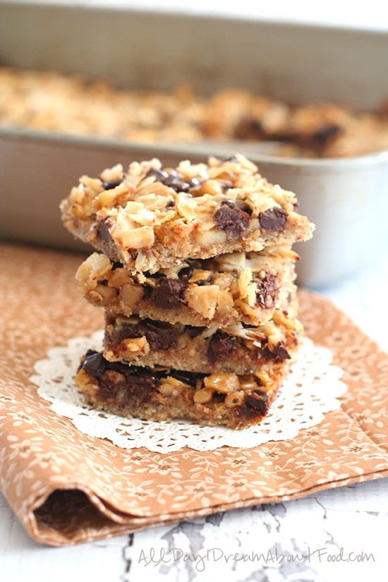 Low Carb Grain-Free Salted Caramel Magic Cookie Bars