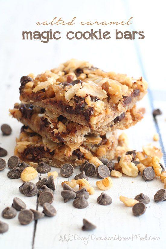 Low Carb Salted Caramel Magic Cookie Bars