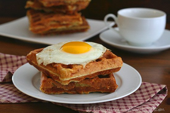 Low Carb Cheddar Waffles with Fried Eggs