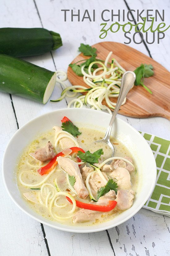 Paleo Low Carb Thai Chicken Noodle Soup | All Day I Dream About Food