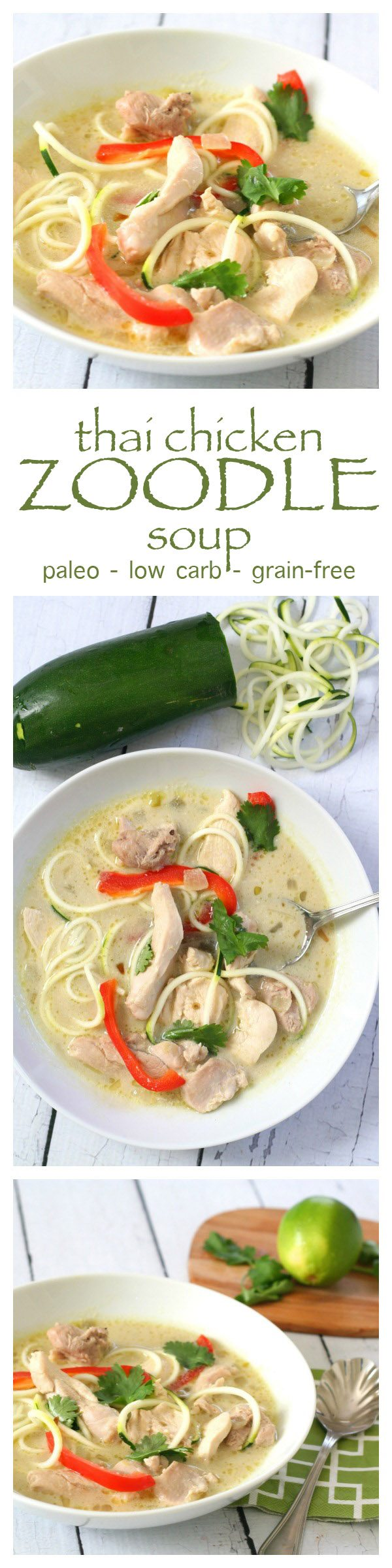 Low Carb Thai Chicken Zoodle Soup