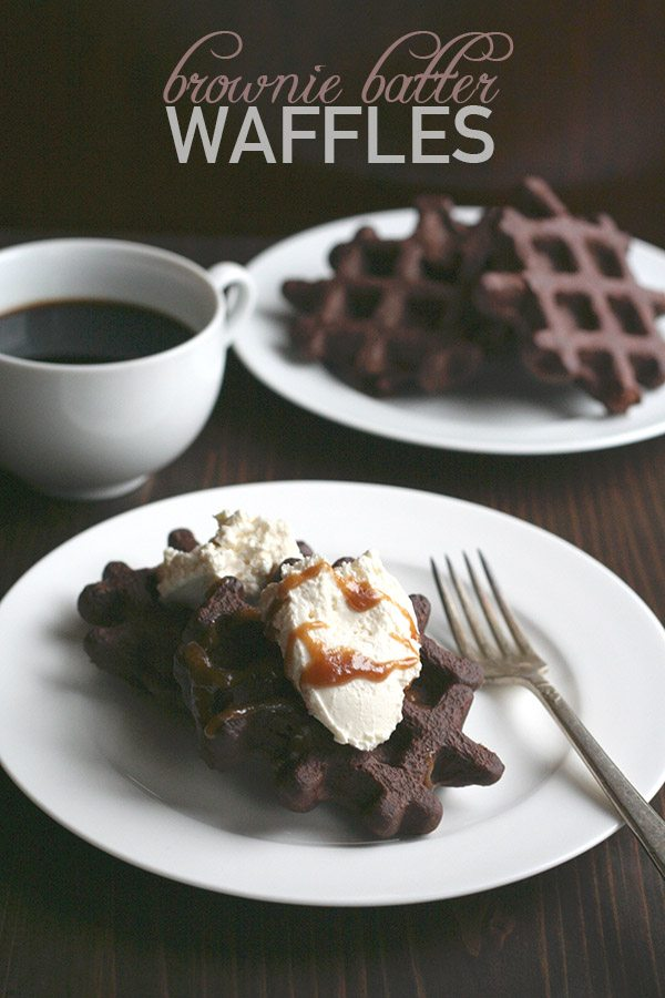 , chocolate-y low carb brownie batter poured onto a hot waffle iron ...