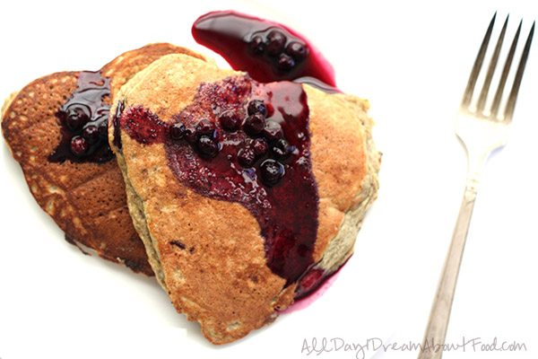 Low Carb Grain-Free Chia Blender Pancakes with Wild Blueberry Syrup