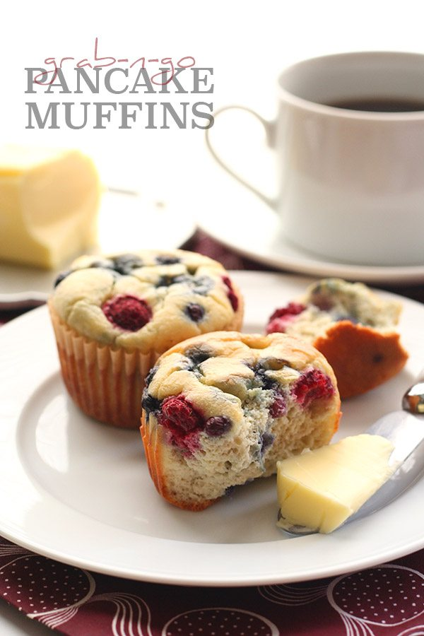 titled image (and shown): Grab 'n Go Pancake Muffins (sitting on a plate next to a mug of coffee)