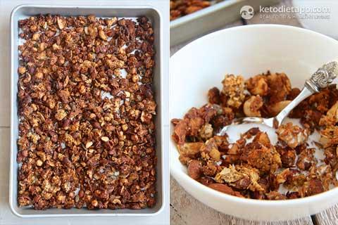 Collage of keto pumpkin spice granola
