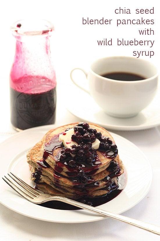 Low Carb Chia Blueberry Blender Pancakes
