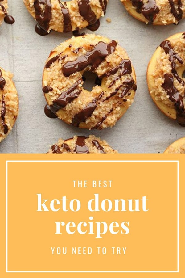 Titled image and top down photo of keto samoa donuts