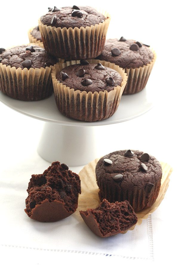 Sugar-Free Healthy Double Chocolate Blender Muffins