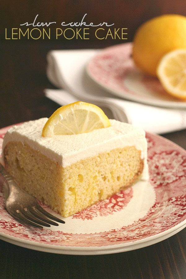 Low Carb Slow Cooker Lemon Poke Cake