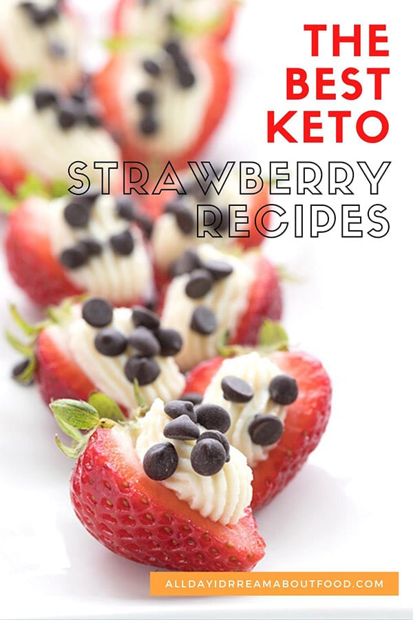 Titled image of strawberries with keto cheesecake stuffed inside.