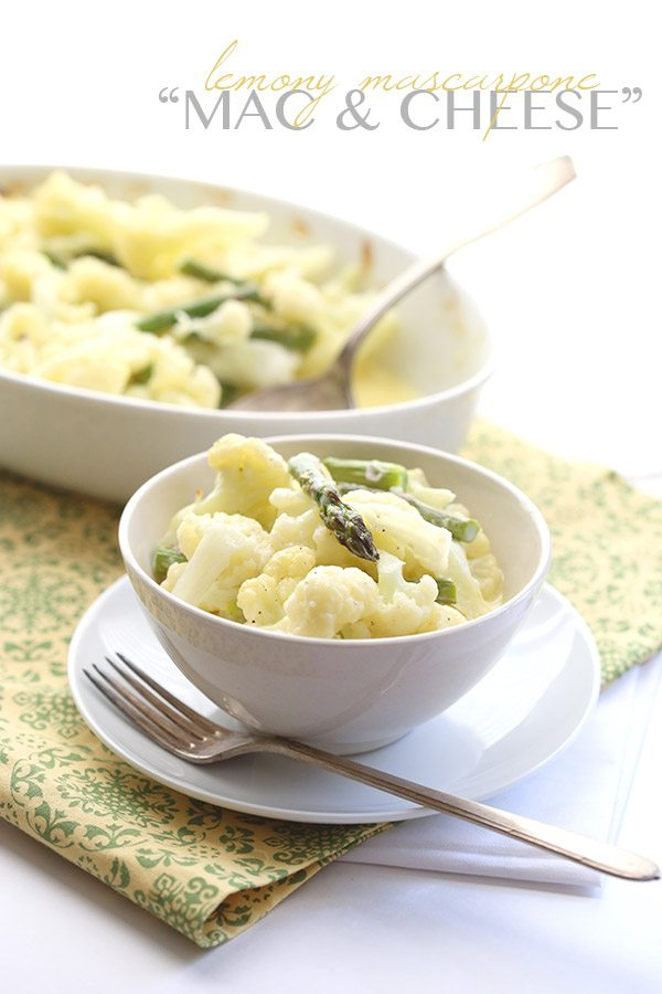 Creamy mascarpone mac and cheese made with cauliflower in place of the pasta. A perfect low carb side dish.