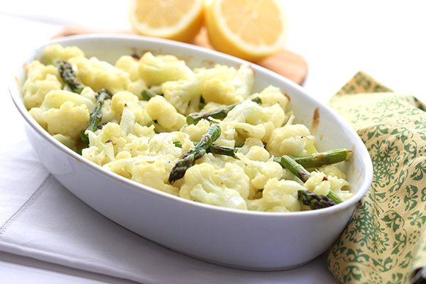 Low Carb Cauliflower Mac & Cheese with mascarpone, lemon and asparagus