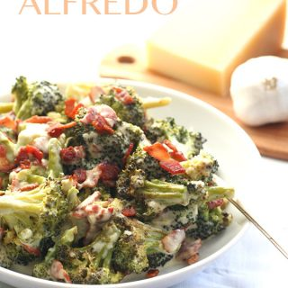 Low Carb Roasted Broccoli Alfredo with Bacon