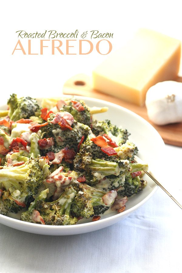 Low Carb Roasted Broccoli Bacon Alfredo Recipe | All Day I Dream About ...
