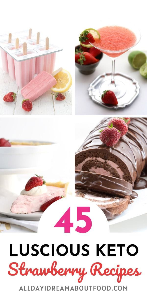 Collage of keto strawberry recipes