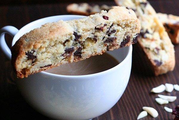 Delicious low carb biscotti with dried cherries and dark chocolate
