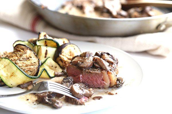 Primal Steak with Creamy Mushrooms